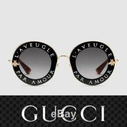 Gucci Gg0113s 001 Lunettes De Soleil D'or Noir L'aveugle Par Amour Authentique