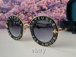 Gucci Gg0113s 001 Lunettes De Soleil En Or Noir Verre Gris L'aveugle Par Amour