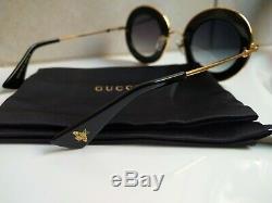Gucci Gg0113s 001 Lunettes De Soleil Or Noir 44mm L'aveugle Par Amour. Authentic New
