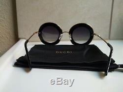 Gucci Gg0113s 001 Lunettes De Soleil Or Noir 44mm L'aveugle Par Amour. Nouveau
