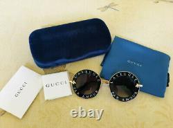 Gucci Gg0113s Dégradé Lunettes De Soleil Rondes Noir / Or / Gris
