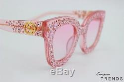 Gucci Gg0116 / S Crystal En Édition Limitée Avec Lunettes De Soleil Stars Pink Authentic Fast