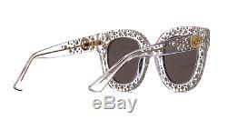 Gucci Gg0116s 001 Lunettes De Soleil Oversize Pour Femmes En Cristal Avec Étoiles De Cristal 100% Uv