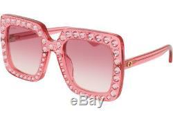 Gucci Gg0148s 003 Lunettes De Soleil À Gradient De Cristal Rose 53mm