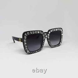 Gucci Gg0148s Noir Gris Cristal Cadre Lunettes De Soleil Surdimensionnées 001