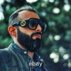 Gucci Gg0152s 001 Black Acate Frame Blue Gradient Lens Lunettes De Soleil Surdimensionnées