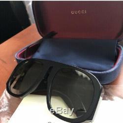 Gucci Gg0152s 002 Acétate Noir Cadre Vert Dégradé Lentille Lunettes De Soleil Surdimensionnées
