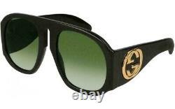 Gucci Gg0152s 002 Black Acate Frame Green Gradient Lens Lunettes De Soleil Surdimensionnées