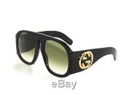 Gucci Gg0152s 0152 002 Lunettes De Soleil Vertes Noires Promo