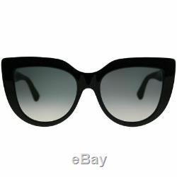 Gucci Gg0164s 001 Lunettes De Soleil Cat-eye En Plastique Noires Verres Dégradés Gris