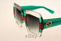 Gucci Gg0178 007 Lunettes De Soleil Carrées En Rouge Vert Clair Authentic 100% Uv