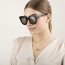 Gucci Gg0208s 002 Noir Wth Gris Argent Miroir Lunettes De Soleil Surdimensionnées Sonnenbrille