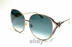 Gucci Gg0225s 004 Lunettes De Soleil Authentiques Pour Femmes D'or 63 MM