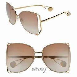 Gucci Gg0252s Brown Gold Metal Oversize Round-frame Lunettes De Soleil Unisexes (003)