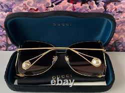 Gucci Gg0252s Cadre Doré Verre Brun Lunettes De Soleil Surdimensionnées Pour Femmes Papillon