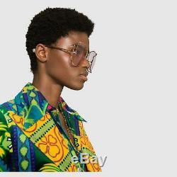 Gucci Gg0252s En Or Rose En Métal Surdimensionnée Ronde Unisexe Lunettes De Soleil (004)