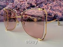 Gucci Gg0252s Gold Frame Pink Lens Lunettes De Soleil Surdimensionnées Papillon