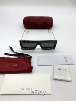 Gucci Gg0431s 001 Cristal Or Carré Noir Masque Lunettes De Soleil 100% Authentiques
