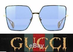 Gucci Gg0436s 004 Lunettes De Soleil Carrées Oversize Pour Femmes, Bleu Fumé Et Métal Doré