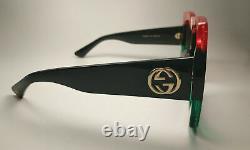 Gucci Grey Gradient Gg0083s 001 Square Redblackgreen Lunettes De Soleil Originales