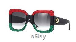 Gucci Gris Dégradé Gg0083s 001 Carrés Redblackgreen Lunettes De Soleil Originales