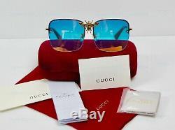 Gucci Je Serai Riche Pour Toujours Bleu Or Rare Carré Bee Lunettes De Soleil En Miroir