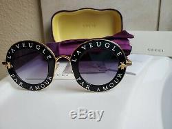 Gucci Lunettes De Soleil 001 Gg0113s L'aveugle Par Amour Noir Nouveau