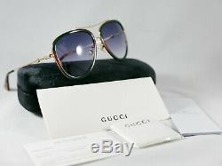 Gucci Lunettes De Soleil Aviateur Gg0062s 003 Or / Vert / Rouge 57mm 0062