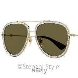 Gucci Lunettes De Soleil Aviateur Gg0062s 004 Gold / Glitter / Black 57mm 0062