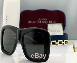 Gucci Lunettes De Soleil Carrées Surdimensionnées Gg0499s 001 Cadre Temple Noir Or Gris Lens