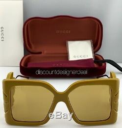 Gucci Lunettes De Soleil Carrées Surdimensionnées Gg0535s 004 Cadre Or Jaune Lentille Jaune Nouveau