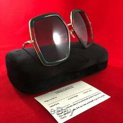 Gucci Lunettes De Soleil D'or Rouge Gg0106s Vert Gris Nouveau Authentique