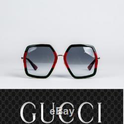 Gucci Lunettes De Soleil Design Femme Gg0106s 007 Or Vert / Gris Dégradé Objectif 56mm