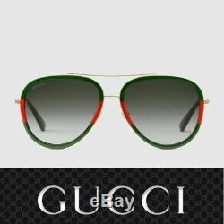 Gucci Lunettes De Soleil Gg0062s 003 Or Rouge Vert / Gris Pour Les Femmes
