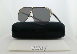 Gucci Lunettes De Soleil Gg0291s 001 Bouclier Noir Avec Gris Objectif 100% Uv