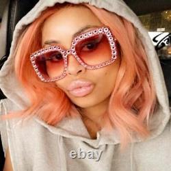 Gucci Pink Crystal Gg0148s 003 Gradient Lense Oversized Ladies Lunettes De Soleil