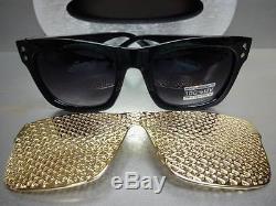 Hommes Femmes Vintage Retro Style Sun Lunettes Noir Cadre Détachable Or Mesh Couverture