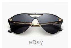 Hot Versace Authentique Aviator Medusa Black Gold Lunettes De Soleil Ve 2161 1002-1087