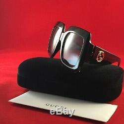 Lunettes De Soleil Authentiques Gucci Urban Gg0053s-01 À Verres Dégradé Noir / Or / Gris 54mm