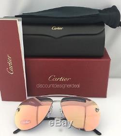 Lunettes De Soleil Aviateur Cartier Panthere, Verres De Miroir Roses / Métal Argenté Esw00175