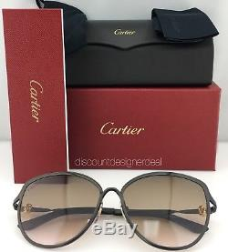 Lunettes De Soleil Cartier Cat Eye Trinity Noir Metal Brown Gradient Esw00187