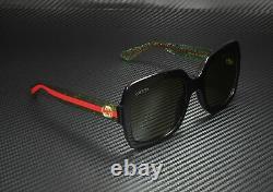 Lunettes De Soleil Gucci Gg0036s 002 Rectangular Square Black Brown 54 MM Femme