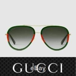 Lunettes De Soleil Gucci Gg0062s 003 Or Rouge Vert / Gris Pour Femme
