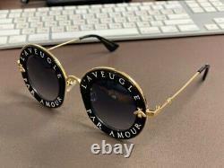 Lunettes De Soleil Gucci Gg0113s 001 Black Gold L'aveugle Par Amour