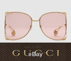 Lunettes De Soleil Gucci Gg0252s Oversize À Monture Ronde En Métal Doré / Rose