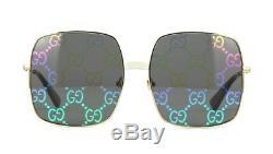 Lunettes De Soleil Gucci Gg0414s Gold / Grey Monogram Mirrored (003 Vp)