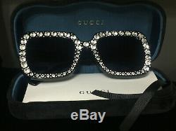 Lunettes De Soleil Gucci Gg148s 003 Noir Oversized Square Crystal New Authentic