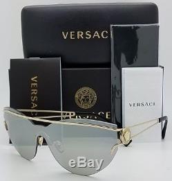 Lunettes De Soleil New Versace Ve2186 12526g Or Medusa Argent Mir 2186 Shield Genuine