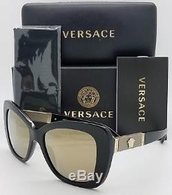 Lunettes De Soleil New Versace Ve4305q Gb1 / 5a Noir Or Medusa 4305 Cat Eye