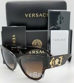 Lunettes De Soleil New Versace Ve4322 108/13 55 Tortoise Gold Medusa 4322 Cateye Genuine